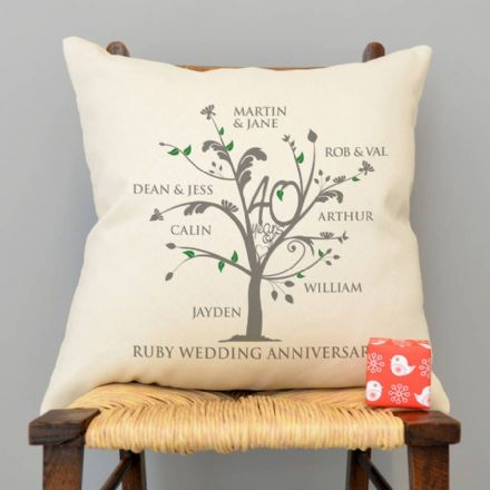 Personalised Ruby Anniversary Family Tree Cushion